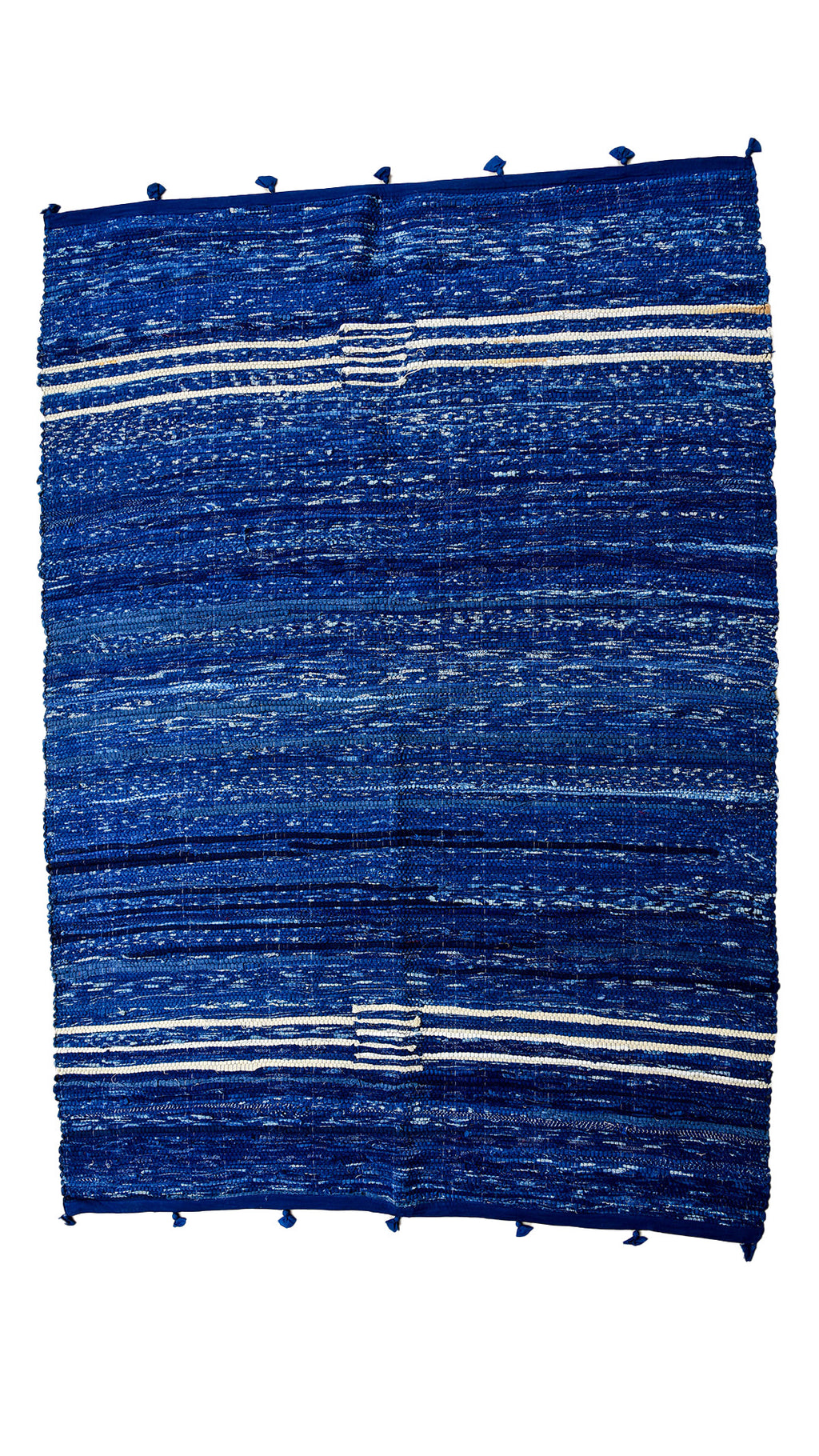 Indigo Rug from fabric leftovers - Aavaran Udaipur