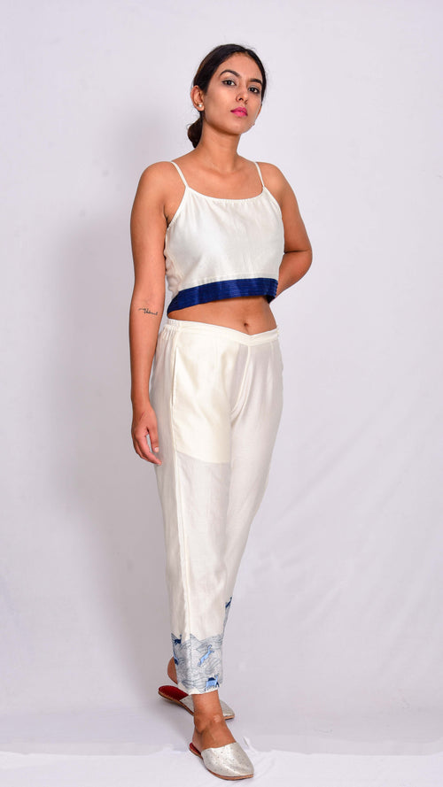 Chanderi Strap crop top - Aavaran Udaipur