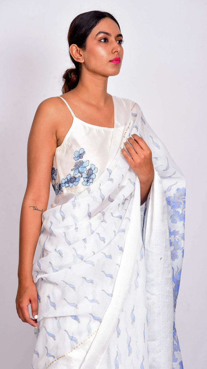 Hand embroidered Chanderi Blouse - Aavaran Udaipur