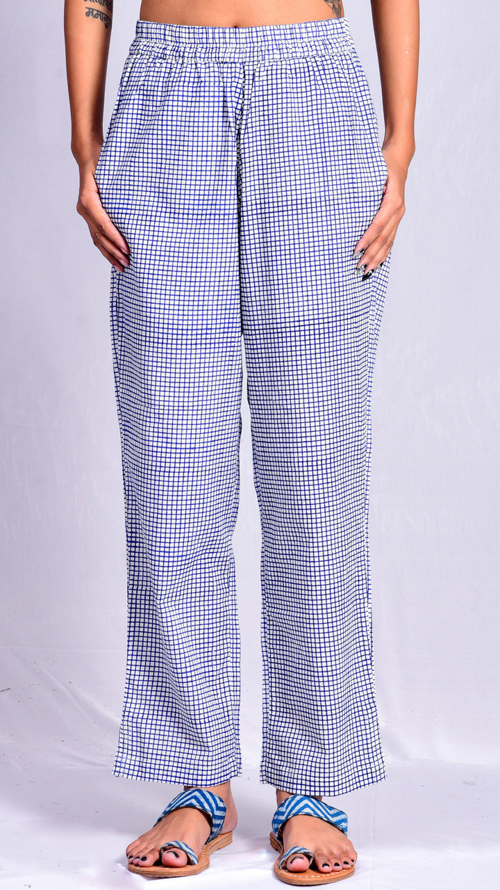 Blue Pigment Check Print Straight Pants - Aavaran Udaipur