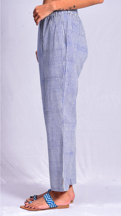 Blue Pigment Check Print Straight Pants