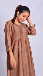 Brown Gold Print Long Kurta - Aavaran Udaipur
