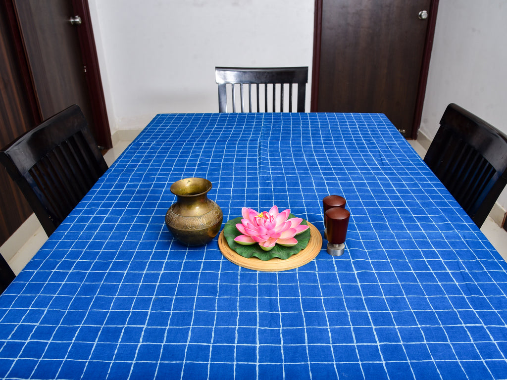 Indigo Dyed Dabu Printed Table Cover - Aavaran Udaipur