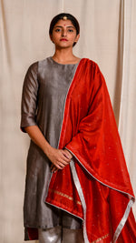 Red dyed and zari embroidered chanderi silk dupatta - Aavaran Udaipur