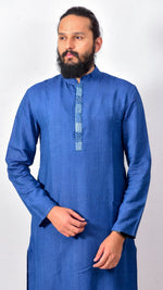 Indigo dyed men's kurta with patchwork details - Aavaran Udaipur