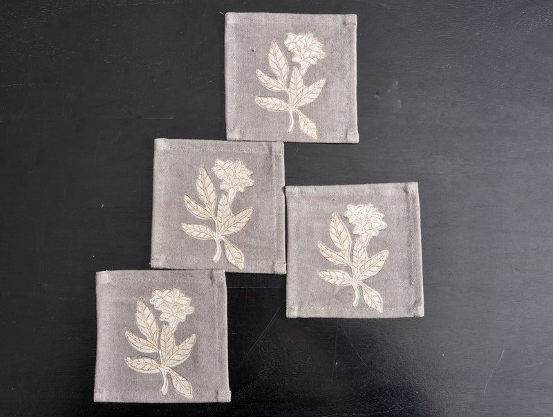 Kashish Dyed Dabu Printed Coasters (Set of 4) - Aavaran Udaipur