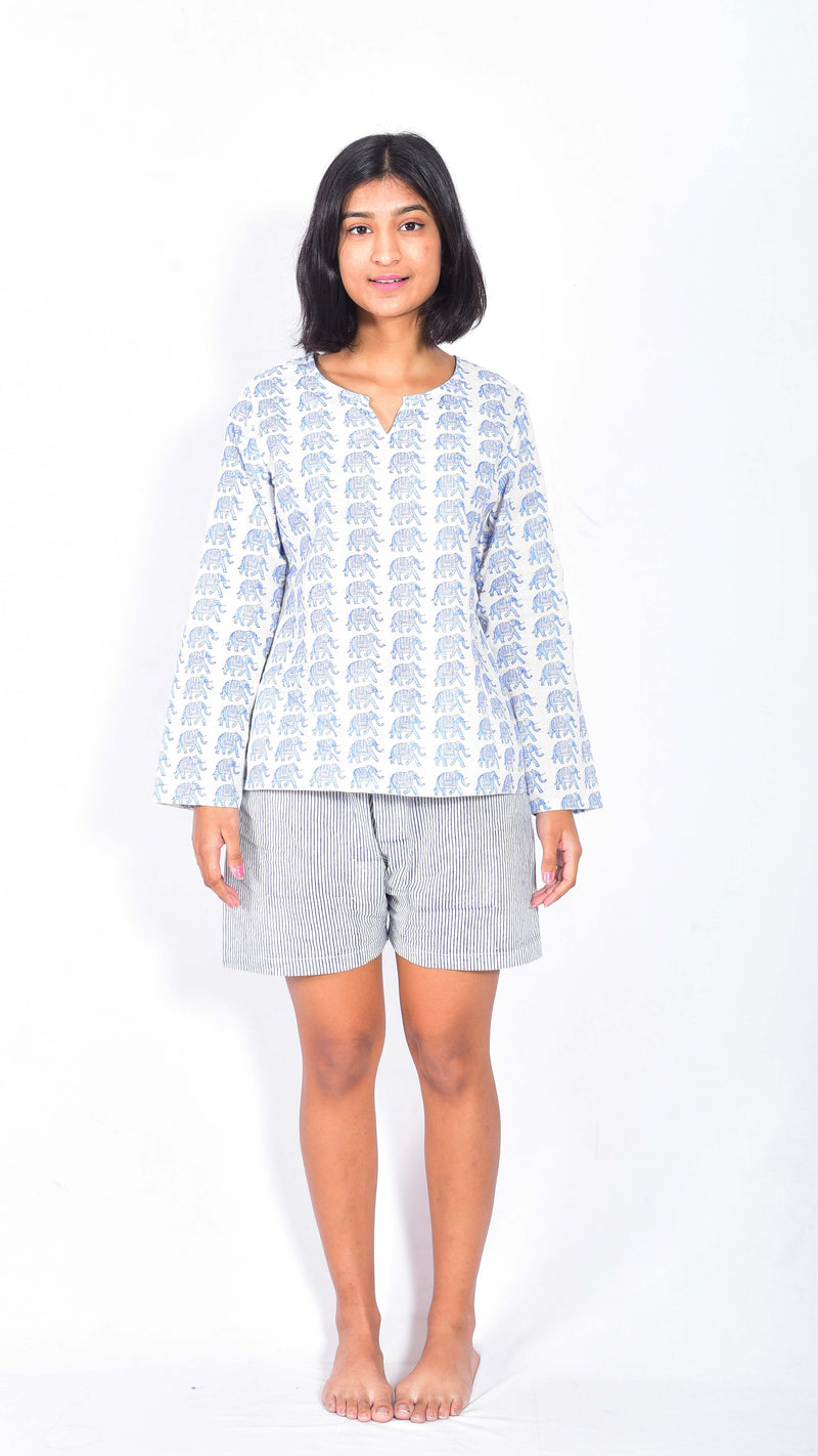 Elephant hand block printed top and shorts - Aavaran Udaipur