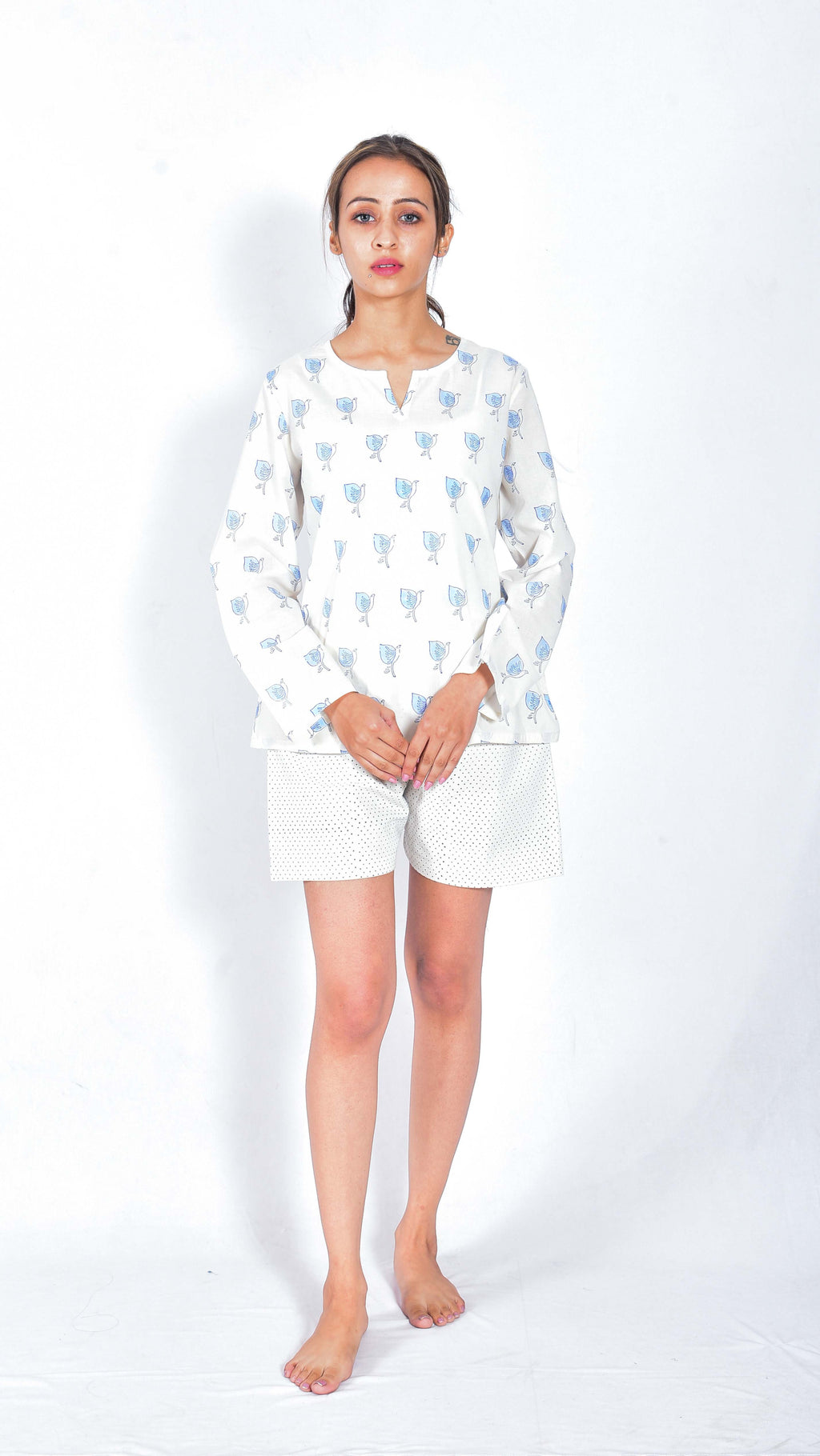 Hand block printed top and shorts - Aavaran Udaipur