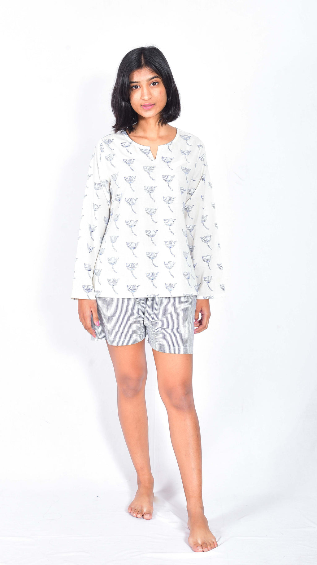 Bouganville Hand block printed top and shorts - Aavaran Udaipur