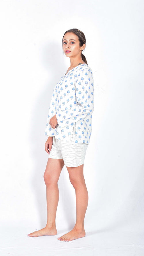 Lotus hand block printed top and shorts - Aavaran Udaipur