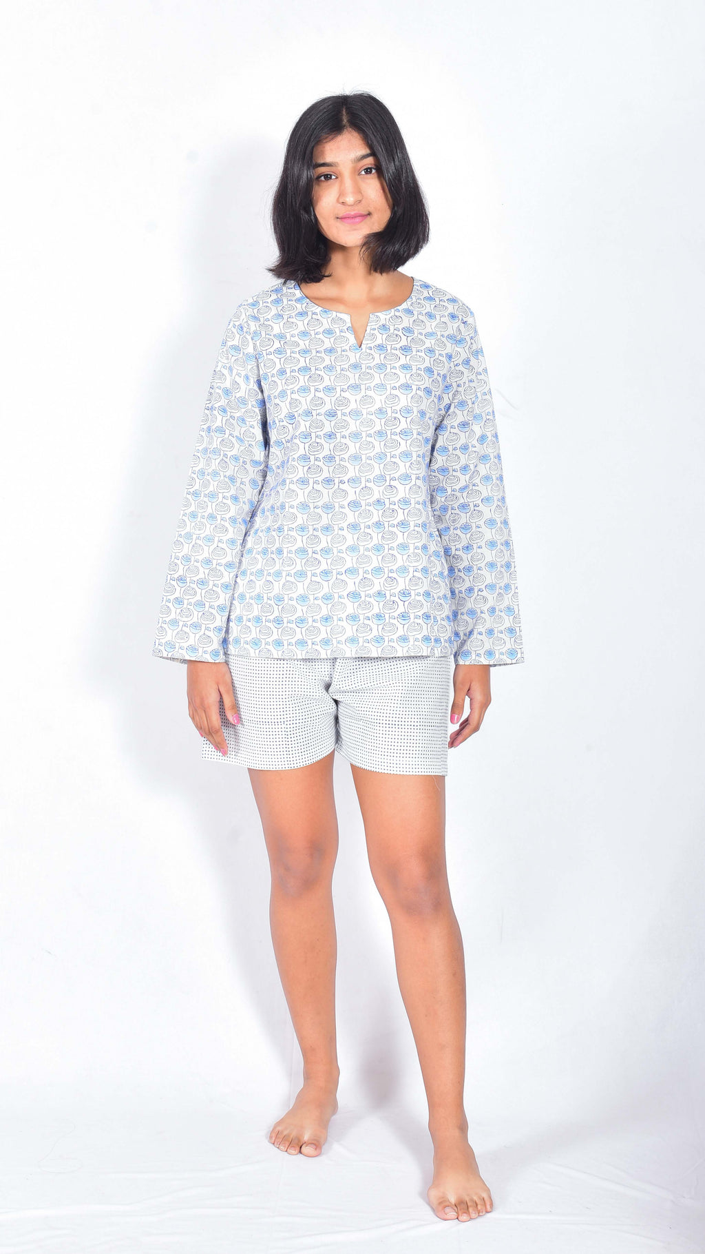 Rose hand block printed top and shorts - Aavaran Udaipur
