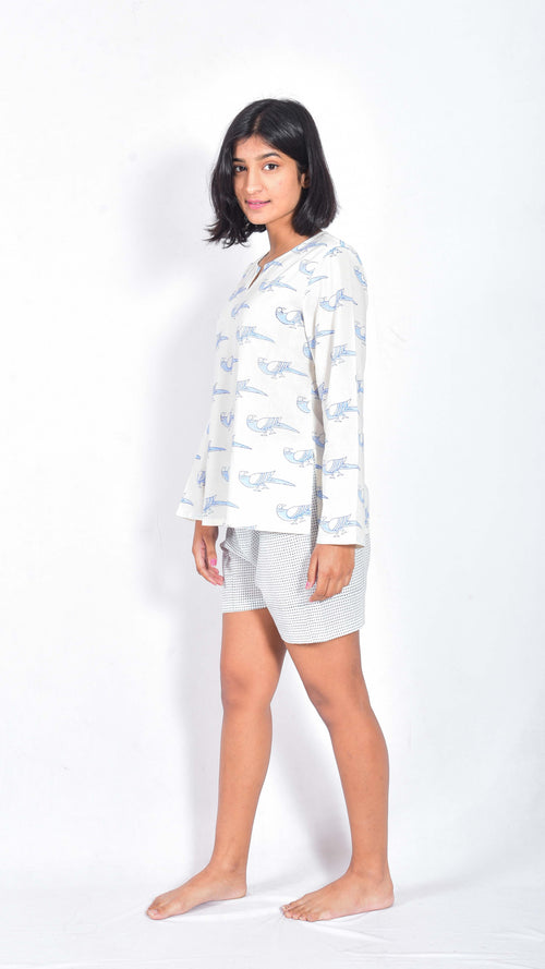 Parrot hand and block printed top and shorts - Aavaran Udaipur