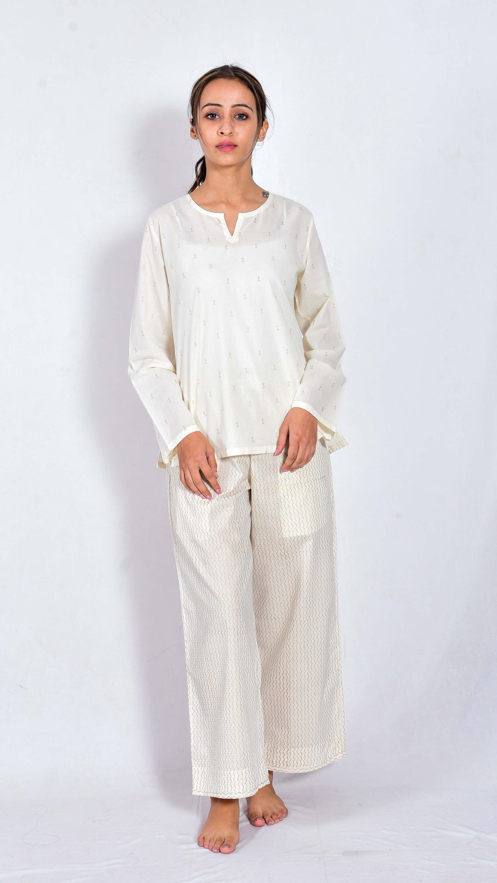 Lotus hand block printed top and pajama - Aavaran Udaipur