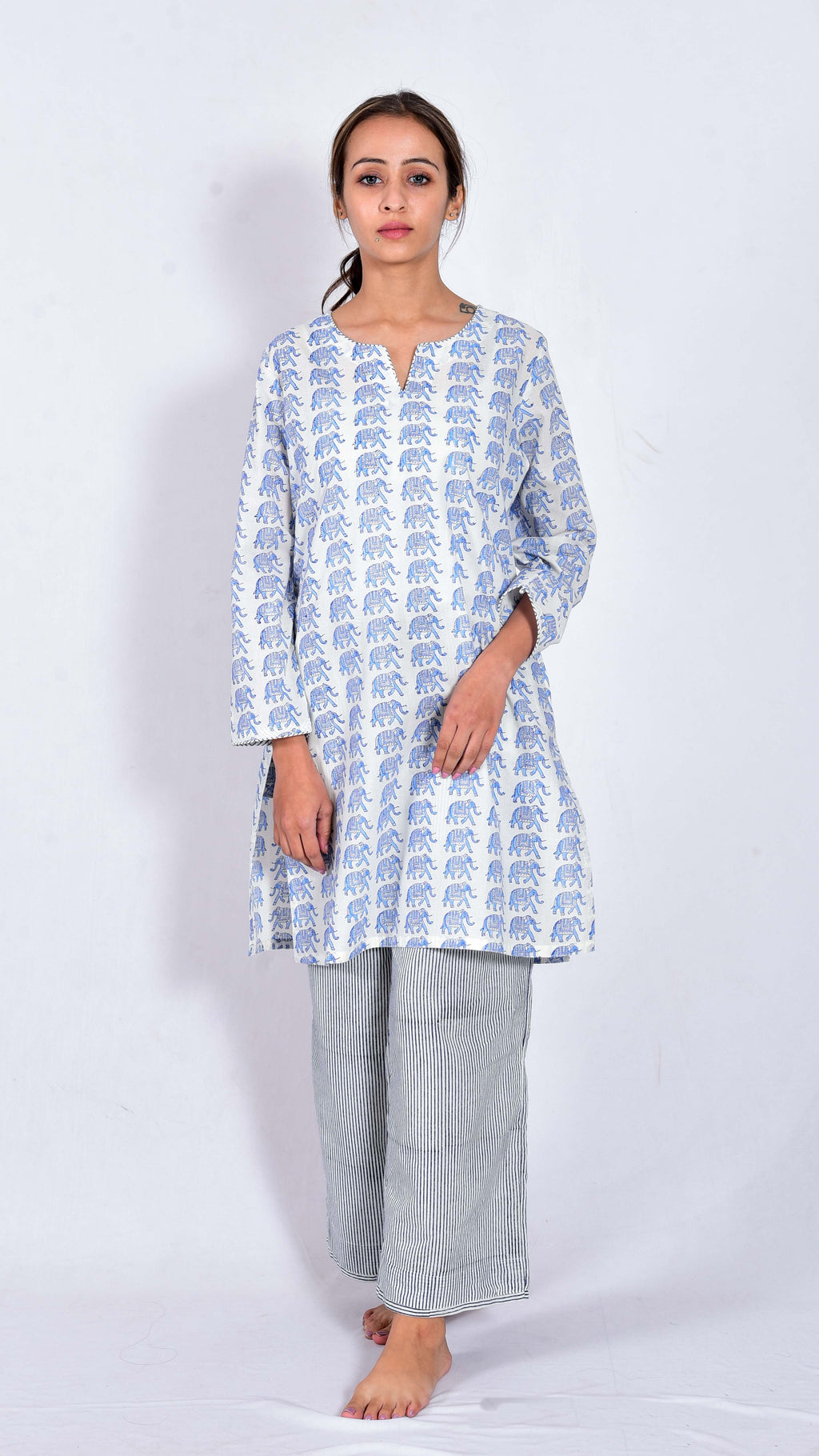 Rose Hand block printed kurta and pajama - Aavaran Udaipur