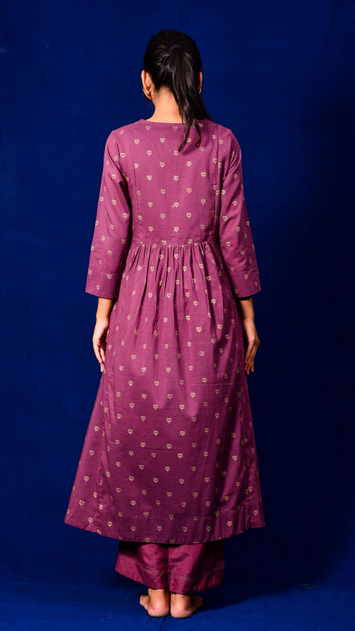 Gold Print Flared Kurta Dress - Aavaran Udaipur