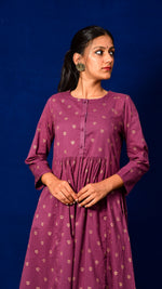 Gold Print Flared Kurta Dress