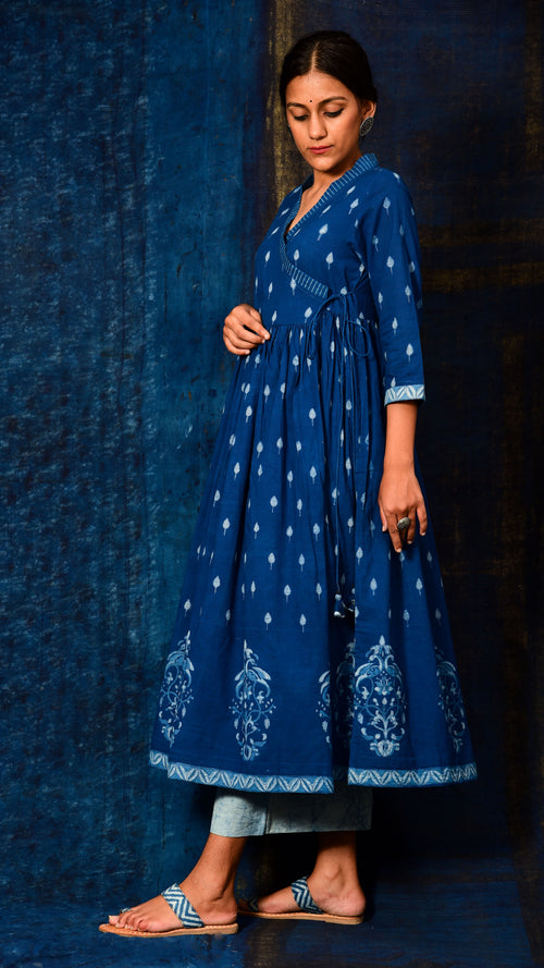 Indigo dyed Angrakha Kurta Dress
