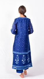 Indigo dyed and dabu hand block printed angrakha with inner - Aavaran Udaipur