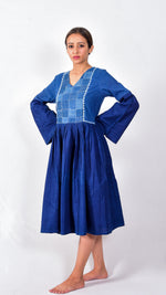 Indigo dyed and dabu hand block printed dress with patchwork - Aavaran Udaipur