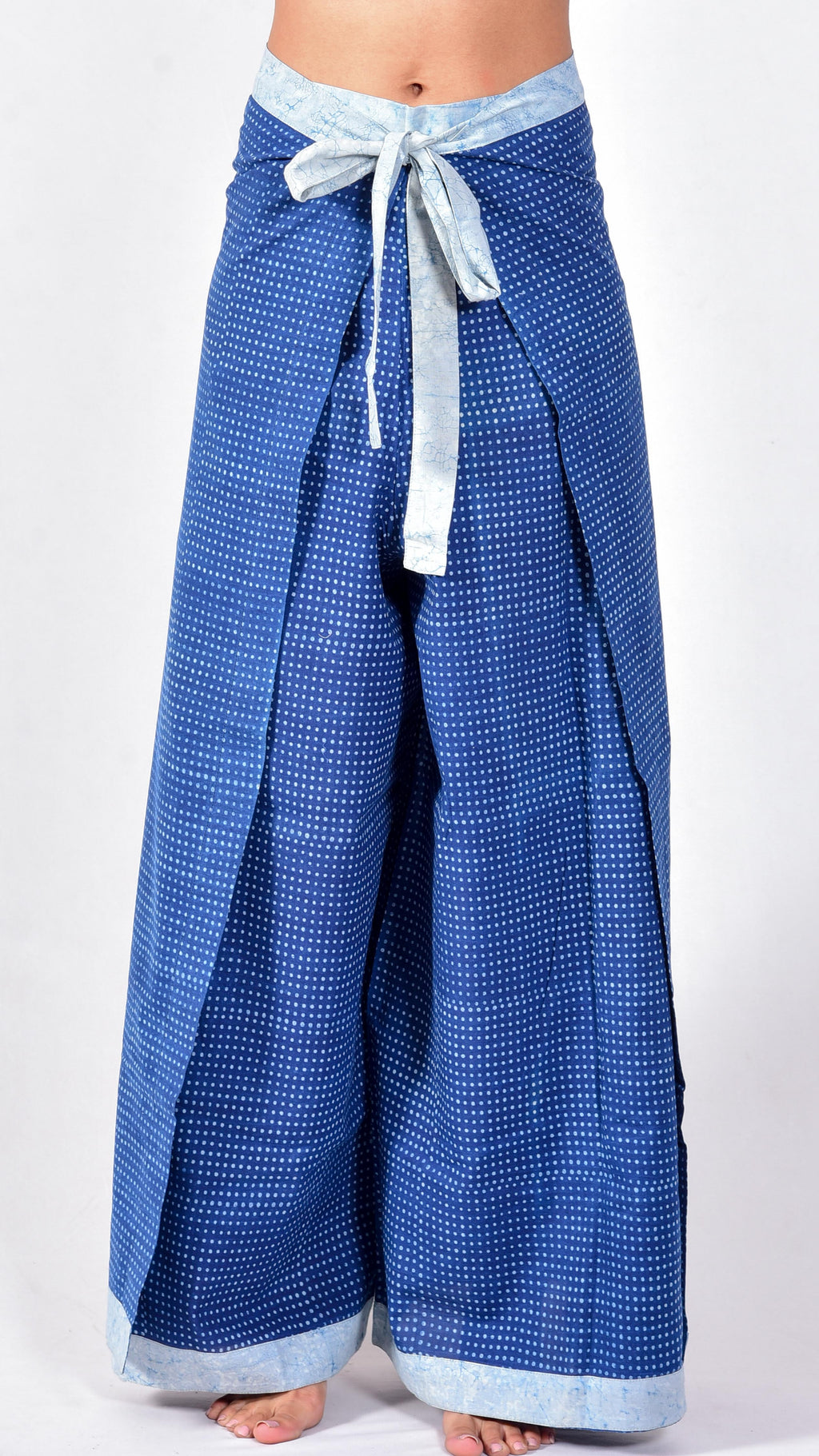 Indigo dyed and dabu hand block printed wrap around pants - Aavaran Udaipur