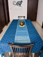 Nashpal dyed, quilted and dabu hand block printed table runner - Aavaran Udaipur