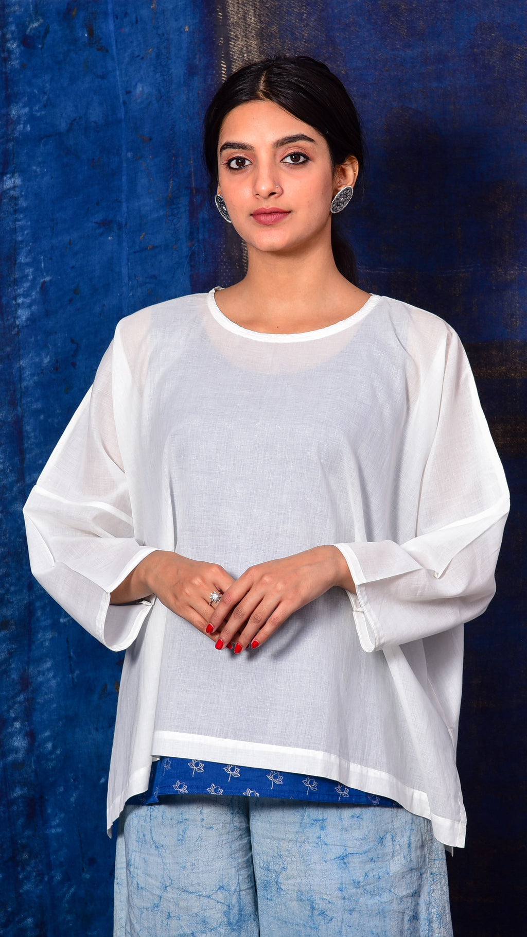 Blue Pigment print Top with Inner - Aavaran Udaipur