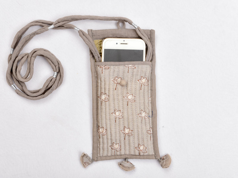 Kashish dyed and dabu hand block printed phone cover with strings - Aavaran Udaipur