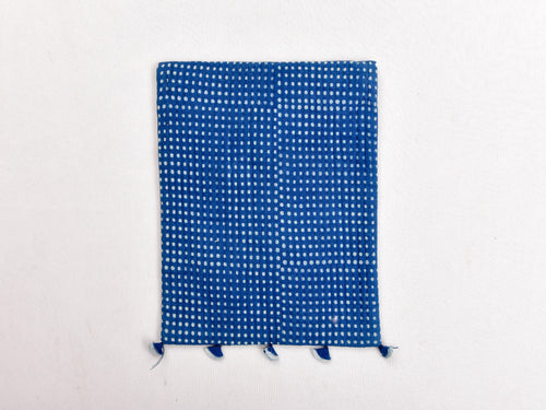 Indigo dyed and dabu hand block printed Ipad cover with strings - Aavaran Udaipur