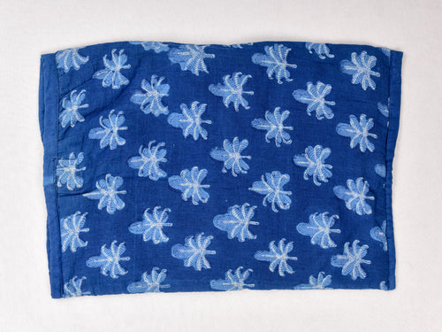 Indigo dyed and dabu hand block printed tissue cover box - Aavaran Udaipur