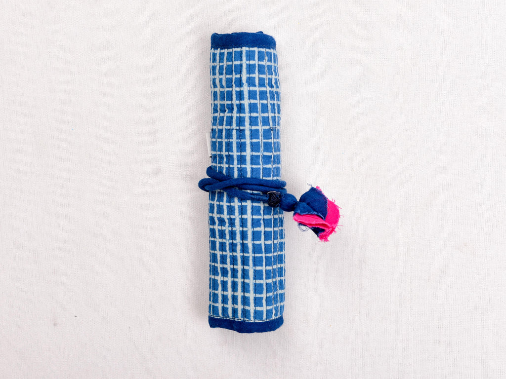 Indigo dyed and dabu hand block printed pen holder roller - Aavaran Udaipur