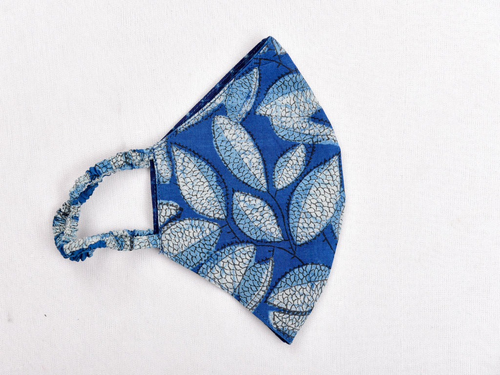 Indigo dyed and dabu hand block printed reversible mask - Aavaran Udaipur