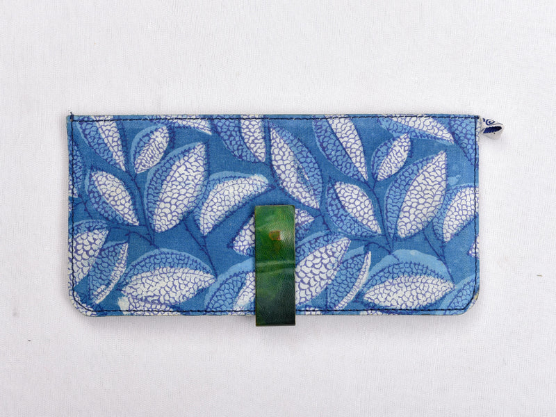 Indigo dyed and dabu hand block printed wallet with green leather - Aavaran Udaipur