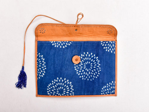 Indigo dyed and dabu hand block printed leather pouch with string - Aavaran Udaipur