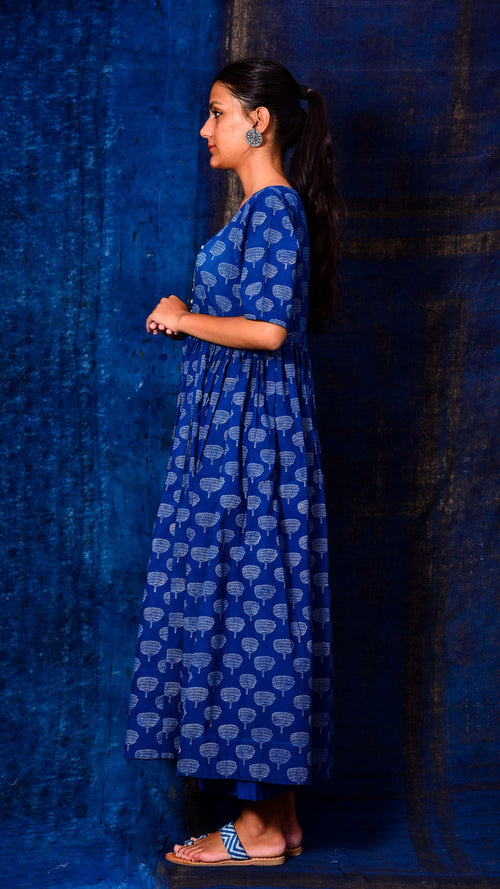 Indigo Dyed Gathered Kurta Dress - Aavaran Udaipur