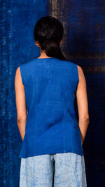 Indigo dyed sleeveless short top - Aavaran Udaipur