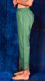 Green Solid Straight Pant