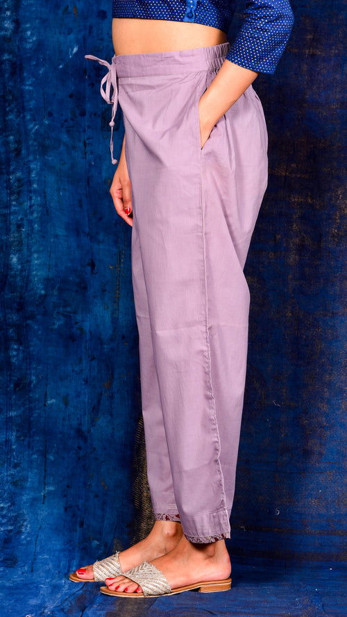 Light purple solid Flared Pant