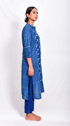Indigo dyed and dabu printed straight kurta - Aavaran Udaipur