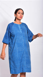 Indigo dyed and dabu hand block printed dress - Aavaran Udaipur