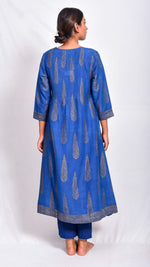 Indigo dyed and gold printed flared kurta - Aavaran Udaipur