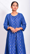 Gold printed Flared kurta dress - Aavaran Udaipur