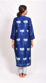 Indigo dyed and dabu hand block printed straight kurta - Aavaran Udaipur