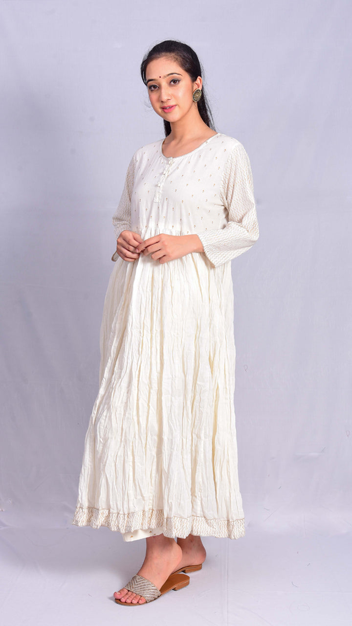 Gold Print Beige Crushed Long Kurta - Aavaran Udaipur