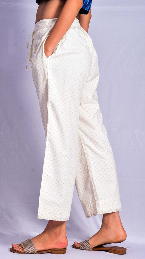 Gold printed straight pants - Aavaran Udaipur