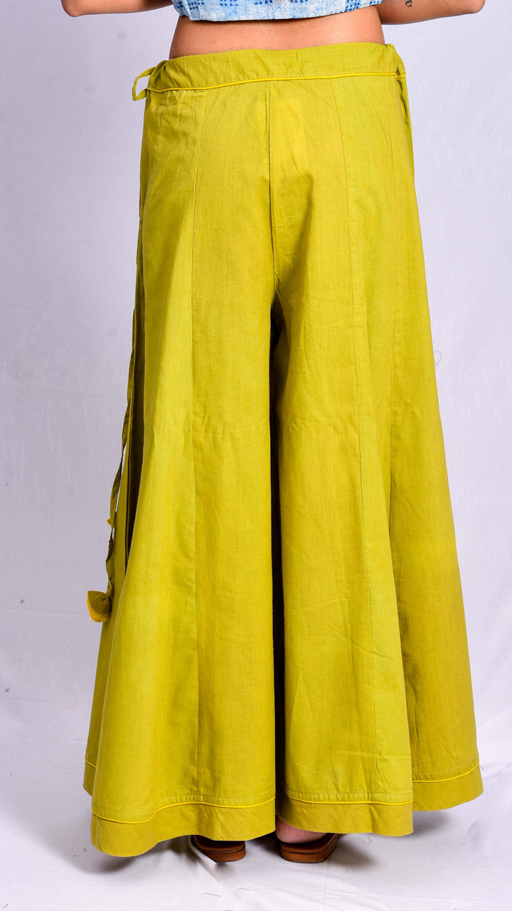 Green Yellow Dyed Palazzo Pants - Aavaran Udaipur