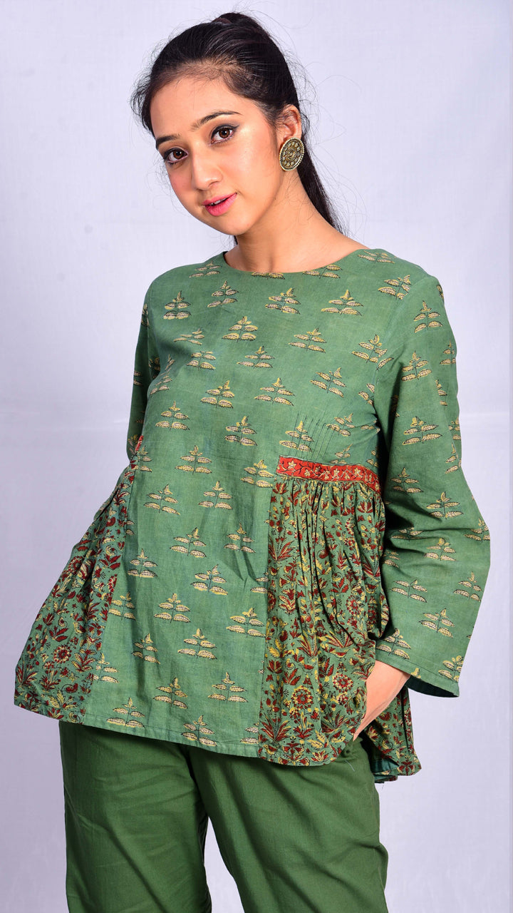 Green dyed top with side and back gathers - Aavaran Udaipur
