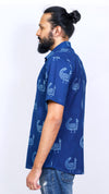 Indigo dyed and dabu hand block printed men's shirt - Aavaran Udaipur