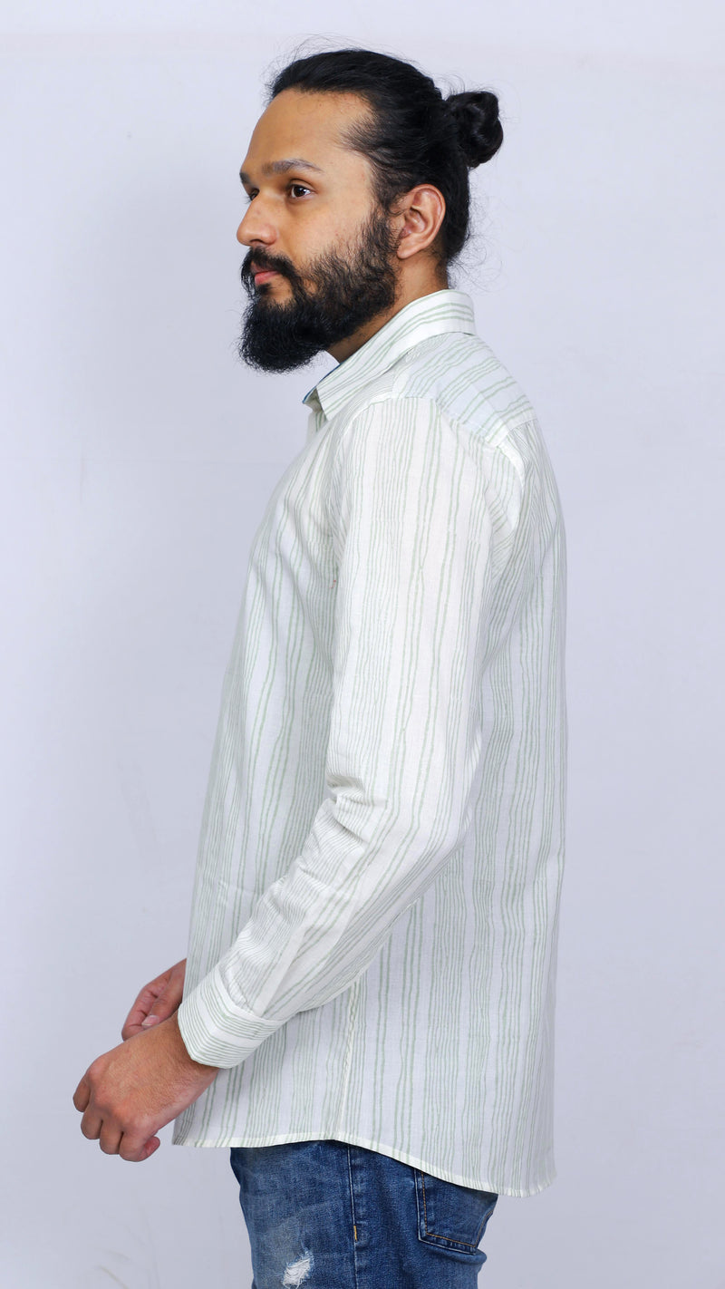 Men's full sleeves cotton shirt with hand block printed stripes - Aavaran Udaipur