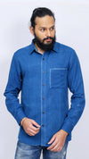 Indigo dyed men's shirt with details on the pocket - Aavaran Udaipur