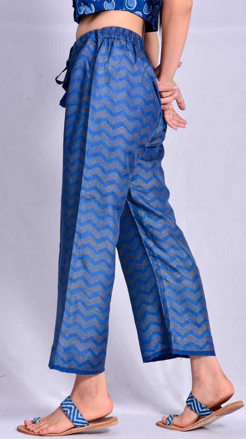 Indigo Dyed Gold Print Straight Pants